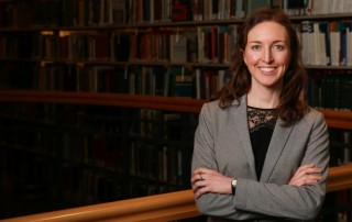 Suffolk Law student Anne-Marie Beliveau in the Suffolk law library